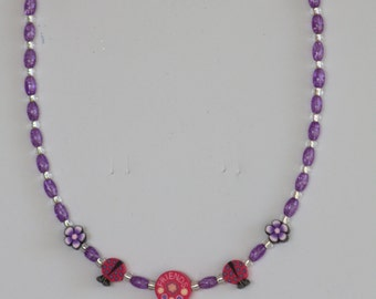 Little girl's necklace - handmade from glass beads and polymer clay focal beads