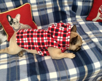 Red Black And White Check French Bulldog Hoodie