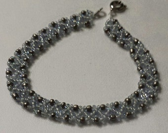 Blue and Silver Chevron Stitch Beaded Anklet