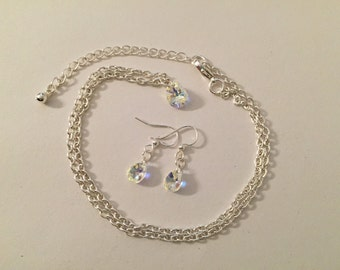 Swarovski AB finished crystal teardrop necklace and earrings.