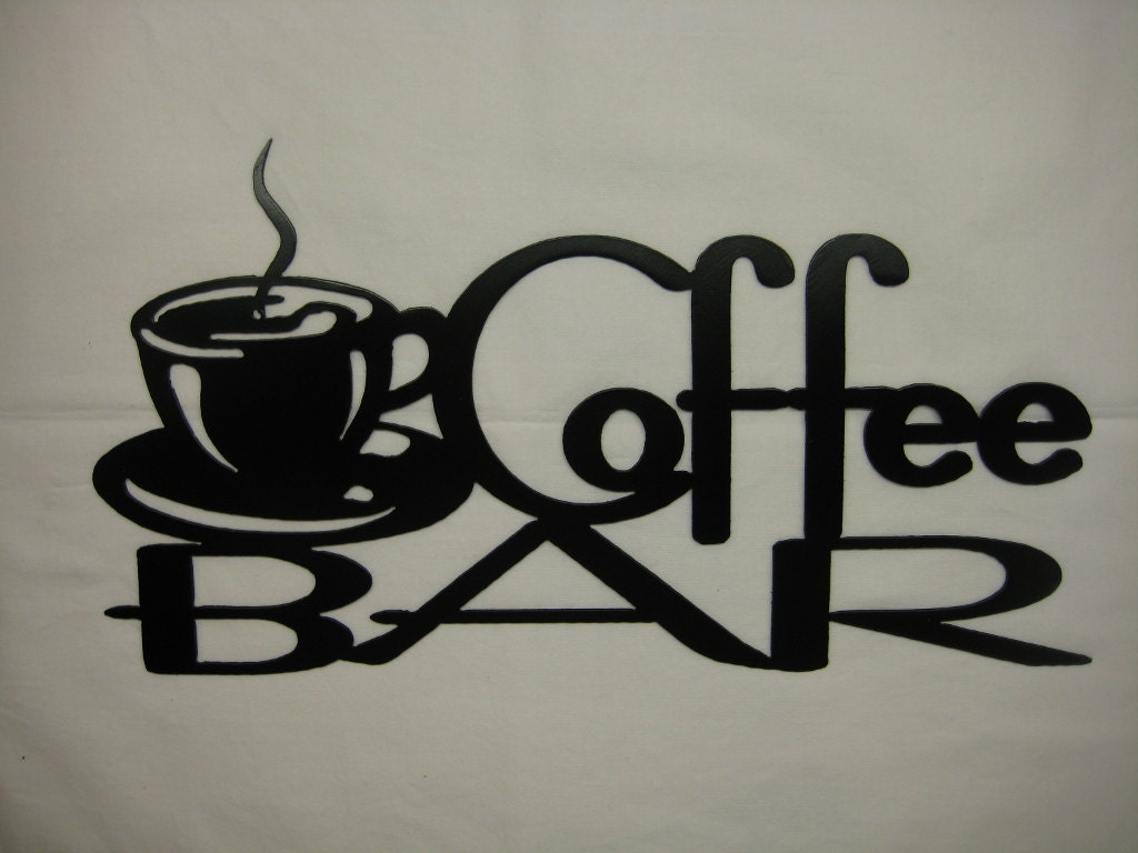 metal coffee bar wall sign by pawdellhobbyshop on etsy