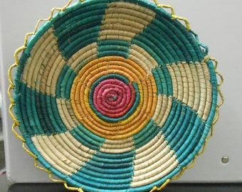 Handmade Multi-Colored Woven 8 Inch Plate