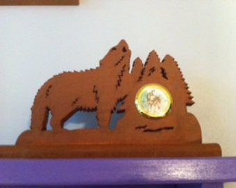 Howling Wolf Scene with Clock