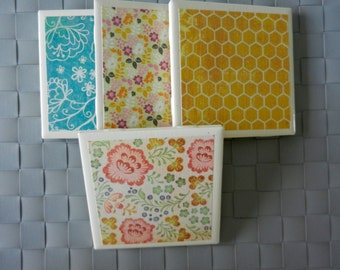 Tile Coasters with Decorative Paper
