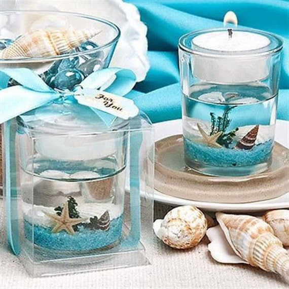 Beach Favors Seashell Gel Tea Light Holders Candle Favors Wedding Shower