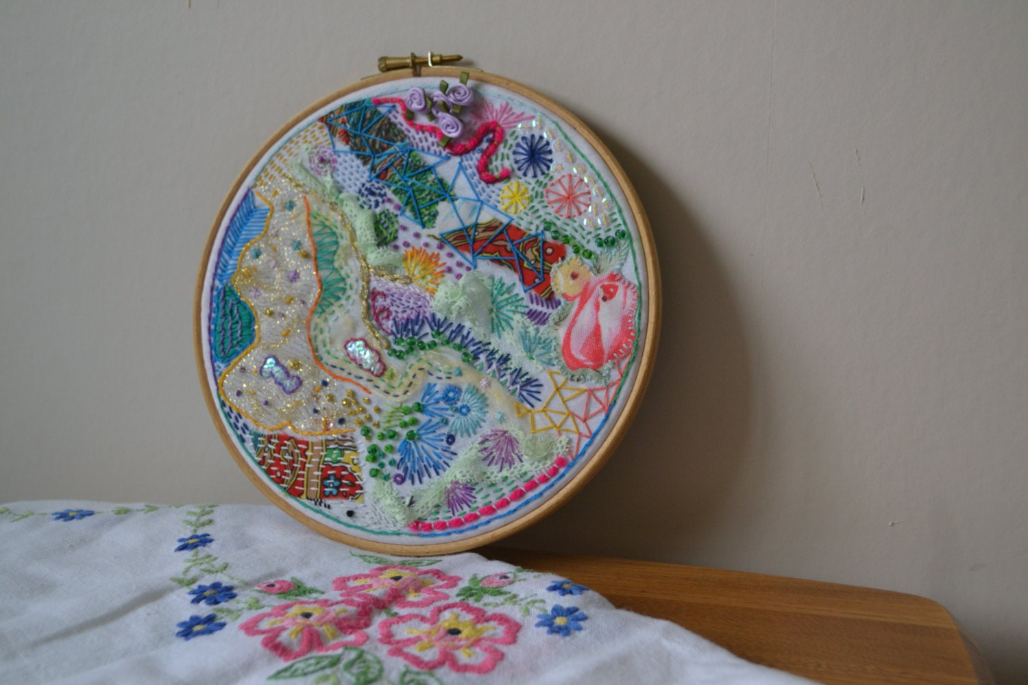 Abstract embroidery hoop art by brodwaithshop on etsy