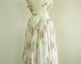 1950s Dress / 50s Floral Dress / Semi Sheer / Party Dress