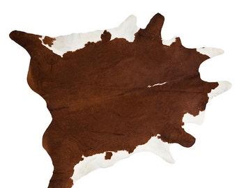Large Genuine Cow Hide Rug - Brown/Natural