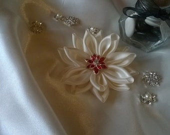fabric flower made of ivory satin ribbon