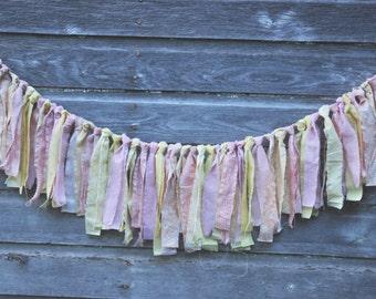 Pink yellow hand torn fabric garland