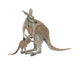 KANGAROO and JOEY - Machine Embroidery Design digitized by Dawn Johnson