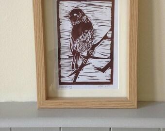 Brambling Bird Handmade Linoprint A6