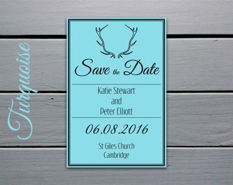 Printable Save the Date Card: Colourful Antlers