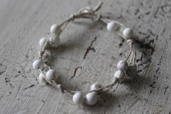 Hemp Bracelet, Beaded Bracelet, Bohemian Jewelry, Boho Bracelet, Natural Jewelry, Natural Bracelet, White Bracelet, Green Bracelet