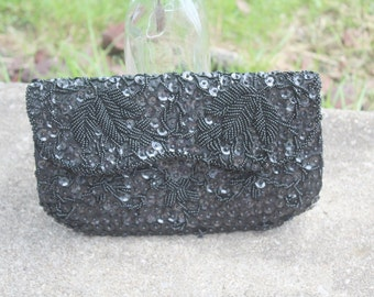 Vintage Black Beaded and Sequin Clutch