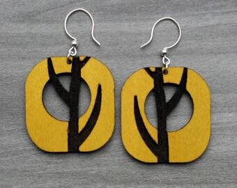 Engraved wood earring