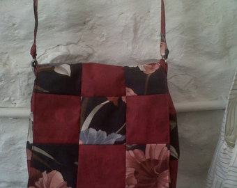 Handmade Patchwork Handbag in Red and Black