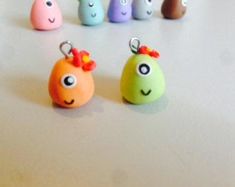 Kawaii mini monster polymer clay charm