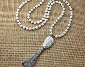 White Beaded with Pewter Tassel