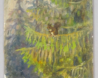 Squirrel Tree Painting Vintage Squirrel in Pine Tree Oil Painting Russian Artist Signed Nikolai Becker Antique Fine Art