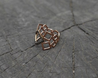 Geometric Ring - Sterling Silver Ring - Bended Squares Ring - Unique Design Ring - valentines gifts