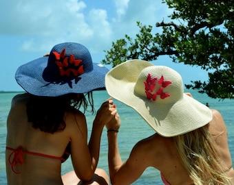 Wide Brim Hat, Large Brim Hat, Straw Hat, Beach Hat, Sun Hat, Summer Hat, Elegant Hat, Floppy Hat, Vacation, Beach, Hat with Butterflies