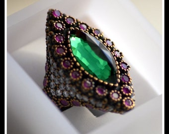 Silver Multicolour Stone Decorated Ring
