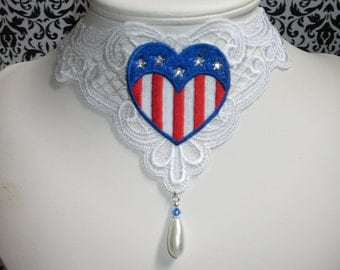 Illusions~ Patriotic USA flag heart venise lace choker necklace
