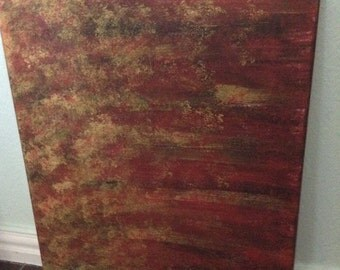 16x20 canvas Red/Gold Abstract painting