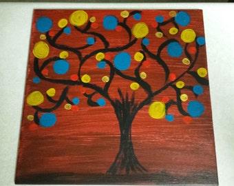 12x12 Ceramic Tile painting,  Whimsical Oak
