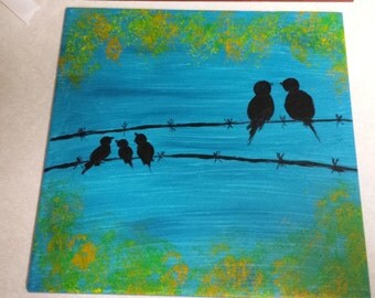 12x12 Ceramic Tile painting, Birds on a Wire