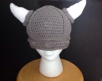 Crochet Viking Hat, Baby Viking Hat, Adult Viking Hat, photo prop, Hat with horns, knit viking hat, silly hat