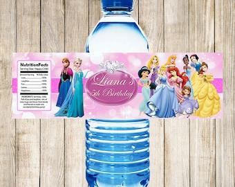 Disney Princess Water Bottle Labels