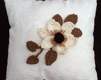 Crochet FLOWER PATTERN, MAGNOLIA and leaves, appliques and trims, Crochet Flower Applique Sewing and Knitting embellishments, CF01