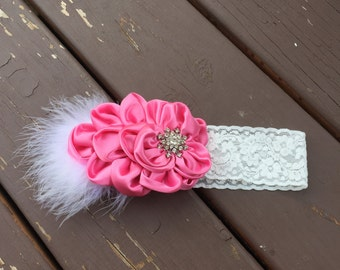 Pink satin Floral Headband with Rhisnestones