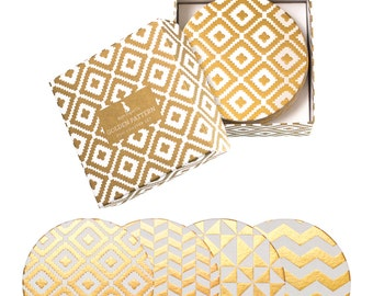 Golden Pattern Coaster Set/Gold Foil Coasters/Coasters/Boxed Coaster Set, Holiday Coasters, New YearCoaster, Christmas Coaster, Hannukah