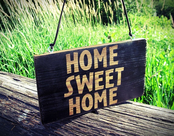 Home sweet home sign wood sign front door by puremerakidesigns - Wooden door signs for home ...