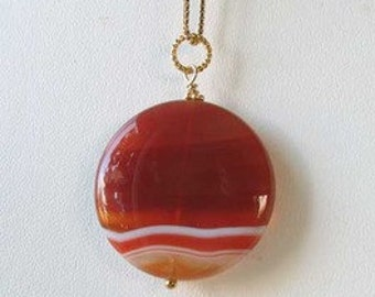 Made In USA Orange-RED Carnelian 14Kgf PENDANT 505677K