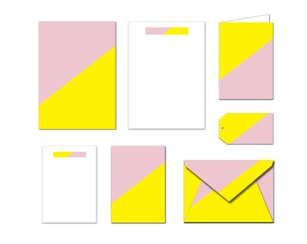 Printable Stationery Set - Yellow & Pink - Notes / Card / Gift Tag / Envelope