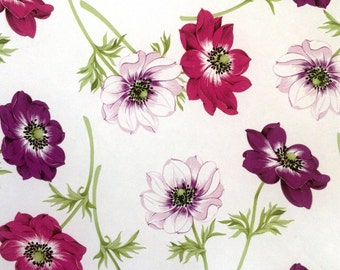 Oilcloth tablecloth fabric poppies purple B8967-02