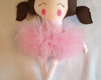 Belle the Balerina - handmade modern rag doll