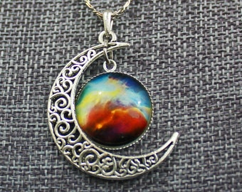 Assorted Galactic Moon Necklaces (5 color options)