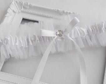 White Garter Wedding Garter Ivory Wedding Garter Ivory Organza Garter Crystal Garter Rhinestone Garter Bridal Garter Bow Garter