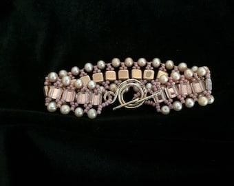 HANDMADE PINK TIila Bead and PEARL Bracelet