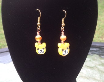 Earrings - Yellow Bear
