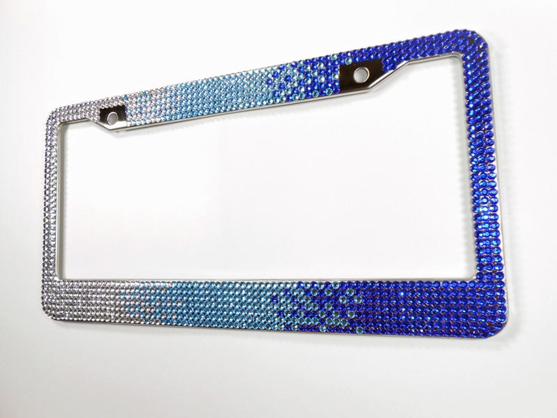 blue ombre rhinestone license plate frame 7 row bling frame wscrew caps crystal car accessory unique gift for women bling car decor