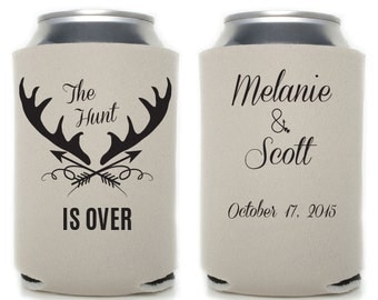 Custom Wedding Favor - The Hunt is Over Can Coolers - Custom Can Coolers - The Hunt is Over - Wedding Favor