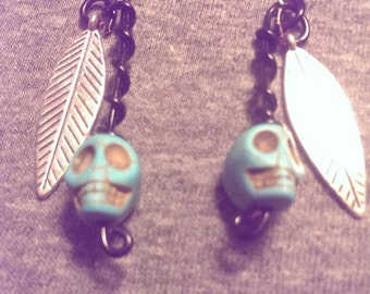 Turquoise Skull and feather earrings