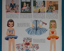 """Original Betsy McCall Paper Doll Magazine Page Titled """"Betsy McCall Makes A Wish"""" From a 1955 Issue of McCall's Magazine"""