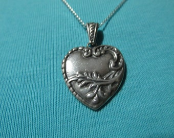 Sterling Silver Heart Pendant With Leaves